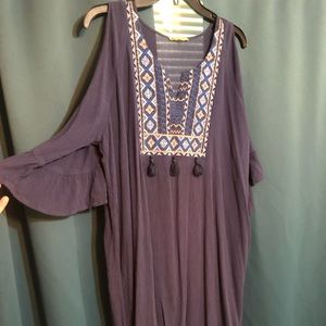 Democracy blue/tan embroidered cold shoulder dress